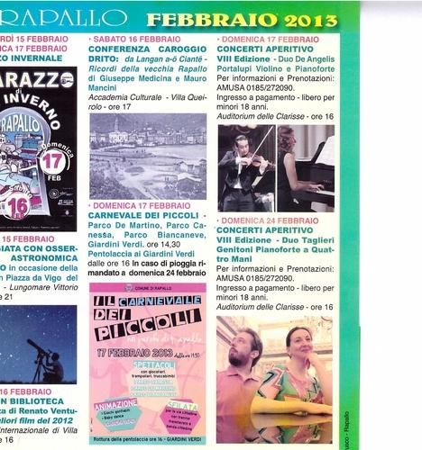 eventi febbraio 2013 rapallo